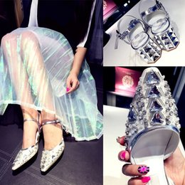 Wholesale Gorgeous Hot Selling Luxury Wedding Bride Shoes Silver High heeled Crystal Prom Evening Party Wedding Bridal Shoes