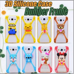 Wholesale Universal D Silicone Case Cartoon Character Bumper Frame Mickey Bear Stitch Monster Doll for iPhone S S Plus plus Samsung S6