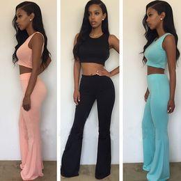 Wholesale Rompers womens jumpsuit two piece outfits pants piece set high waist women summer short crop tops bodycon long jumpsuit