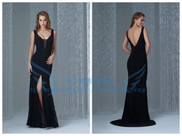 Wholesale Sexy Black Evening Dresses V Neckl Lace Chiffon Split Side Backless Formal Prom Party Gowns Custom DH06