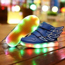 Wholesale LED Lighted Shoes for Kids Boys Girls Children s Christmas Halloween gifts Hip ho Fashion Sneakers BootsUS9 EU25 UK8 US5 EU37 UK4