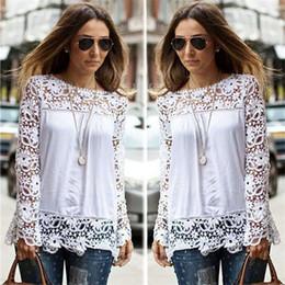Wholesale Spring Autumn Women s White Blouses Cotton Blend Designer Ladies Shirts Long Sleeve Hollow Floral Vintage Women s Clothing for AB024