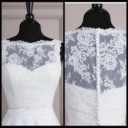 Wholesale Sleeveless Lace Bolero Jacket Illusion Bateau Covered Buttons Jackets Bridal Shrug Bride Wraps Wedding Dress accessories Shawl