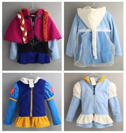 Wholesale autumn and winter Frozen Princess Anna Elsa snow white princess long Sleeve Baby Girls wig jacket fleece coat outerwear YY
