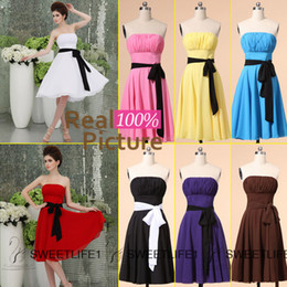Wholesale 2015 Maid of Honor Dresses Short Chiffon Coral Bridesmaid Dresses White Red Purple Blue Knee Length Wedding Party Prom Gowns Cheap Under