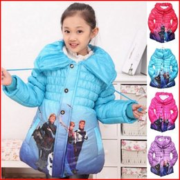 Wholesale 5 Colors Froze Winter Coats Girls Girls Froze Elsa Anna Jackets Kids Long Sleeve Thick Warm Outwear Cotton Padded Clothes Pieces FedEx