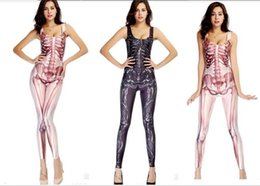 Wholesale Trend Printed Bodysuit Women Sexy Zentai Costumes Dance Shows Digital Human Skeleton Cosplay Lady Skinny Elastic Clothing Cub