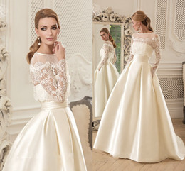 Wholesale Ball Gown Wedding Dress With Long Sleeves Jacket Appliques Sweep Train Satin Elegant Vintage Wedding Dresses Pocket Bridal Dress Cheap
