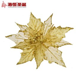 Christmas Decoration Items 20 Cm Golden Three Layers Of High Grade Simulation Decorative Flower 16 G Ornament Crafts Decor Natal Party Suppl