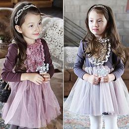 Wholesale 2016 Autumn dress Winter Kids Children Dresses Baby girl tulle lace TUTU Winter Princess Jumper Pullover Casual Dress cotton dress free ship