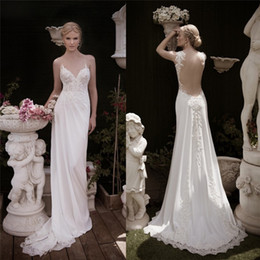 Wholesale New Arrival Naama Anat Spring Lace Wedding Dresses V Neck Sheath Bridal Gowns Sheer Back Floor Length Chiffon Wedding Gown