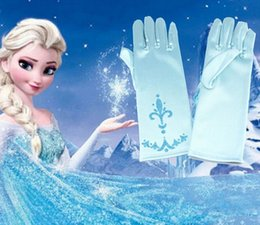 Wholesale Elsa Princess Girl Fancy Gloves girls costumes snow queen gloves Frozen Elsa Cosplay Party Gloves Handschuhe Gants Girls Fancy Dress UP