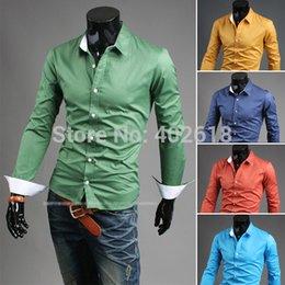 Wholesale Men Shirt Casual shirt Plus Size M L XL XXL Long sleeves Colors choose in stock