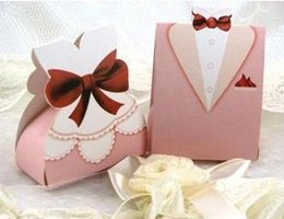 Wholesale 200pcs Pink Tuxedo and Gown Candy Boxes Wedding Ceremony Favors Cheap Favor holders Gift Box Candy Bag In Stock ZC