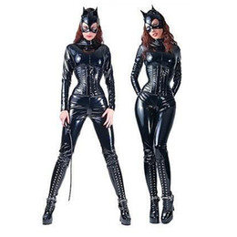 Wholesale sexy lingerie PVC stretchy leather catsuit Catwoman condom Costume for Adult Size body suits women club wear plus size catwoman Zentai XL L