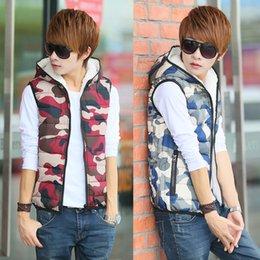 Wholesale Autumn and winter camouflage vest jacket Korean men s cotton Slim Hooded men s waistcoat plus thick warm velvet waistcoat