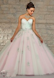 Wholesale Luxury Tulle Ball Gown Appliques Beaded Adult Quinceanera Dresses Sweetheart Low Back Empire Princess Pageant Gowns Crystal Shiny Dresses