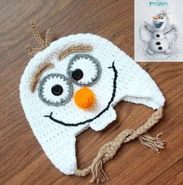 Wholesale Handmade Crochet Frozen Olaf Hat Children s Knitted Caps Newborn Infant Toddler Hats Kids Winter Beanie Skullcap Earflaps A001