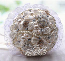 Wholesale New Arrival Wedding Bouquet Rose Shape Ribbon Artificial Lace Decoration Bridal Flowers