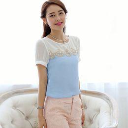 Wholesale High quality S XXL women blusas lace short sleeved shirt chiffon blouse summer new