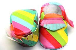 online shopping NEW Baby Rainbow Leather Tassel Baby Fringe Moccasins Shoes Soft Moccs Newborn Infantil Girls Tassels Leather Prewalker First Walkers