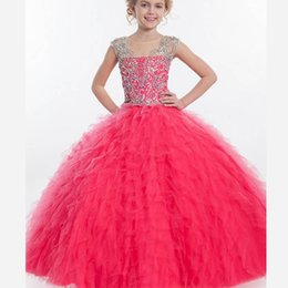 Wholesale Cupcake Rachel Allan Girls Pageant Dresses Sequins Beaded Tiered Ball Gown Skirt Cheap Beauty Glitz Pageant Prom Gowns For Little Kids