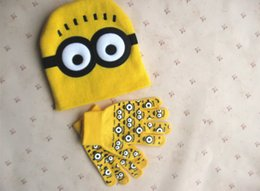 Wholesale Despicable Me Minions Caps And Gloves Spider man Knit Caps And Gloves Cartoon Winter Knitted Kids Girls Boys Hats Gloves Christmas Gift