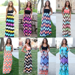 Wholesale 9 Color For Choose Women Summer Boho Style Beach Dress Stripe Long Maxi Dress Women Sexy Party Dresses Plus Size