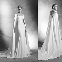 Wholesale 2016 New Arrival Sheath Wedding Dresses Sheer Neck Lace Applique Detachable Cape Court Train Elegant Long Bridal Gowns Sexy Wedding Gown