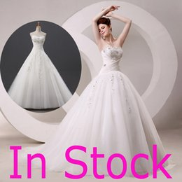 Wholesale In Stock Top Quality Sweetheart Ball Gown Wedding Dresses Appliques Beads Sheer Sweep Train Bridal Party Gowns Real Image J001B