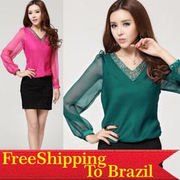 Wholesale New Autumn Fashion Women Chiffon Diamonds Blouses V Neck Long Sleeve Shirts Red Green Dark Blue M L XL XXL