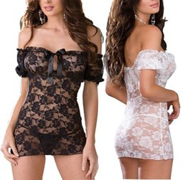 Wholesale Sexy Lingerie Lace Dress Babydolls Strapless Skirt Nightwear Underwear Black White E