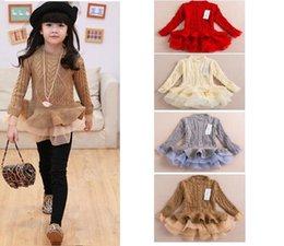 Wholesale 2015 Autumn Winter Kids Girls Knit Sweater Dresses Baby girl tulle lace TUTU Winter princess jumper pullover dress
