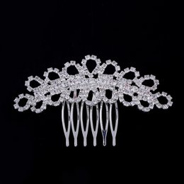 Wholesale 2015 NEW Wedding hair accessories Bride Bridal Floral Hair Comb Head Pieces hair jewelry Clear Rhinestone Crystals