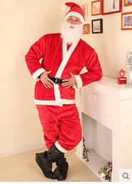 Wholesale Male money plush Christmas clothes Add silver Santa suit costumes Santa dress up