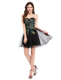 Wholesale 2016 New Design Peacock Embroidered Mini Dress For Women Prom Dress Night Black Longue Formal Evening Dresses