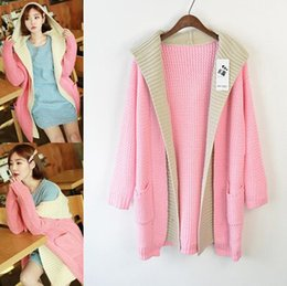 Wholesale 2014 new winter women clothing fall hooded long bat sleeve coat knitted cardigan loose big size sweater manteau pullfemale