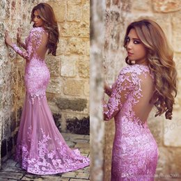 online shopping Said Mhamad Mermaid Lace Plum Prom Dresses Sweep Train Sweetheart Formal Party Evening Dresses Backless Lady Formal Dresses