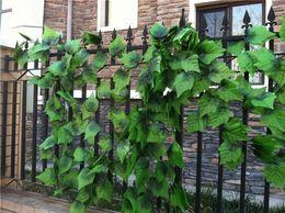 Length Of 240cm Artificial Silk Simulation Climbing Grape Vines Green Leaf Ivy Rattan For Home Decor Bar Restaurant Decoration