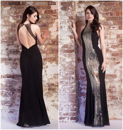 Wholesale WOW Sexy Mermaid Evening Dresses Crew Neck Open Back Sleeveless Sequins Decoration Floor Length Shimmery Prom Dress Party Gown