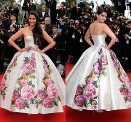 Wholesale Celebrity Dress Prom Dress Sonam Kapoor Poses Cannes Festivel Myriam Fares Strapless Ball Gown Quiceanera Evening Gown LAN2620