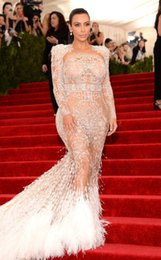 Wholesale 2015 Celebrity Dresses Met Gala KIM KARDASHIAN WES Mermaid Evening Gowns High Neck With Shinning Beading Back Hollow Long Sleeve Court Train