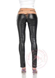 Wholesale Gothic Punk Sexy Women Faux Leather Low Rise Leggings Capri Pencil Skinny Open Butt Pants Trousers Erotic Clothing