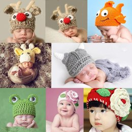 Wholesale Lovely Newborn Infant Baby Girl boy Knit Crochet XMAS Hat Photography Prop Costume Cap Cartoon Animal Head Beanie Cap