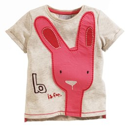 Wholesale Girls Clothing New Summer Style Girl T shirts Tops Tee Child Clothes Cute Red Rabbit Pattern Brand Cotton Kids T shirt