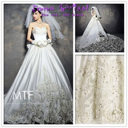 Wholesale 2015 New Top Luxurious Empire Barroco Style White Lace Bow Crystal Embroidery Craft V neck Cathedral Train Wedding Dress Bridal Gown