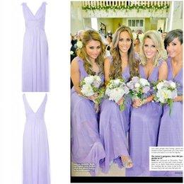Wholesale 2015 New Fashion Sexy Floral V Neck Greek Goddess Sheath Floor Length Lavender Chiffon Cheap Summer Beach Bridesmaid Party Dresses Cheap New