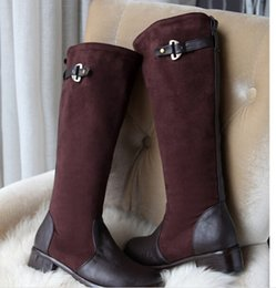 Wholesale 2014 New Sexy Women Knee High Boots Long Buckle low Heels Winter Female Snow boots Designer Prom Shoes