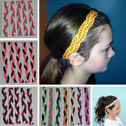 Wholesale 2015 Mix Colors rope triple Braided mini Stretch Softball Sports Headbands