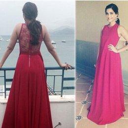 Wholesale Fashionable Red Chiffon Lace Evening Reception Red Carpet Dress Sheer Unique Sonam Kapoor Celebrity Party Gown ELIE SAAB Couture